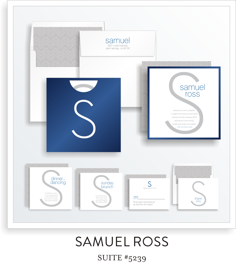 Bar Mitzvah Invitation Suite 5239 - Samuel Ross