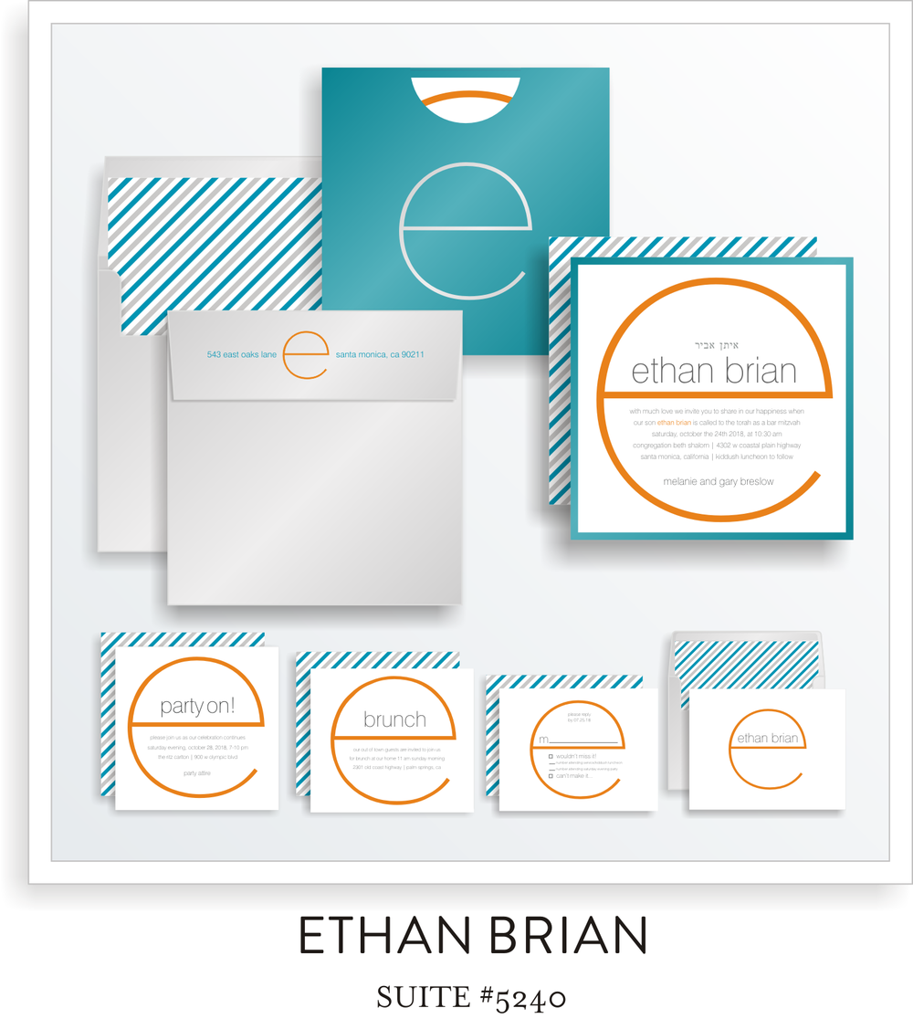 Bar Mitzvah Invitation Suite 5240 - Ethan Brian