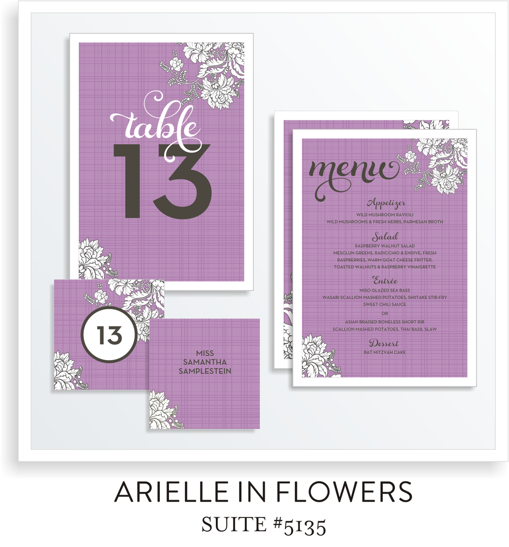 Table Top Decor Bat Mitzvah Suite 5135 - Arielle in Flowers