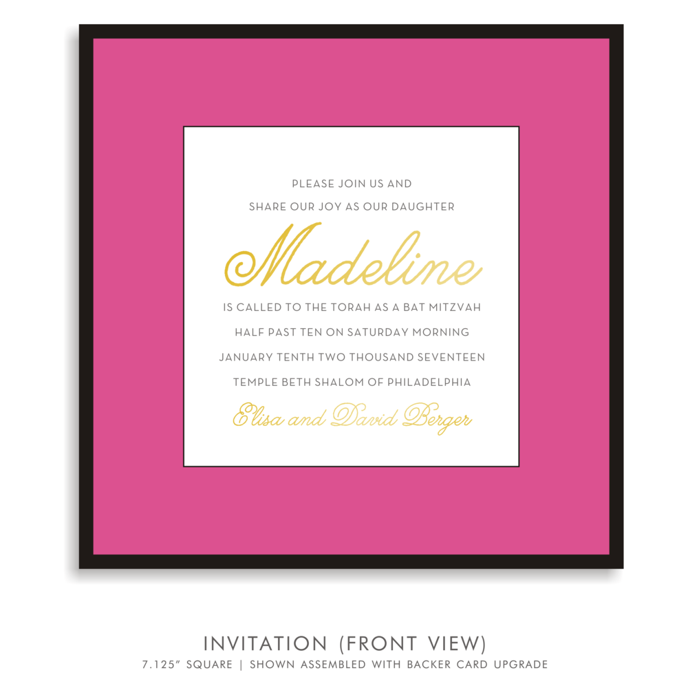 madeline lynn suite 5167 pink and gold bat mitzvah invitations