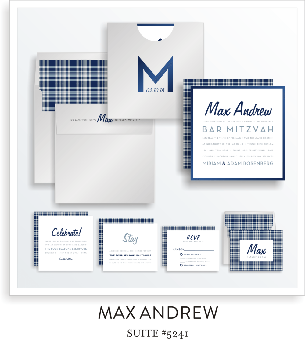 Bar Mitzvah Invitation Suite 5241 - Max Andrew