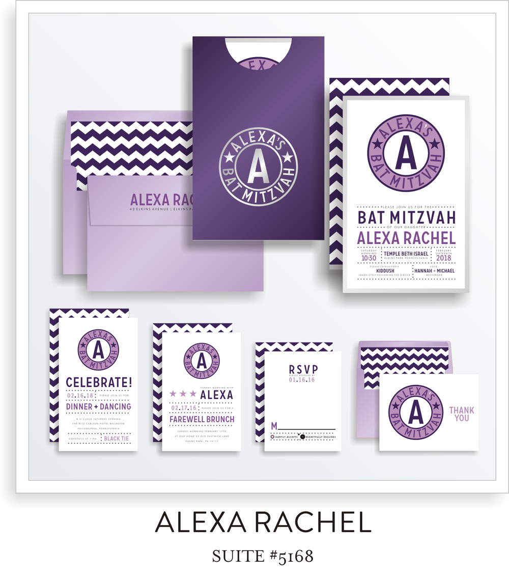Bat Mitzvah Invitation Suite 5168 - Alexa Rachel