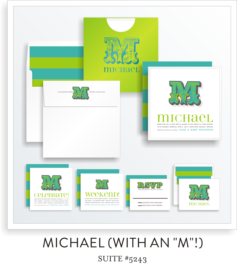 Bar Mitzvah Invitation | Michael with an 'M'!