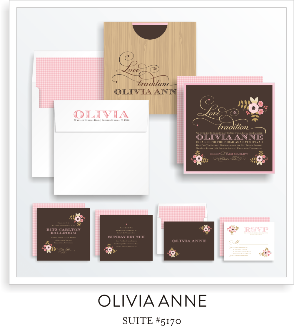 Copy of Copy of Copy of Bat Mitzvah Invitation Suite 5170 - Olivia Anne