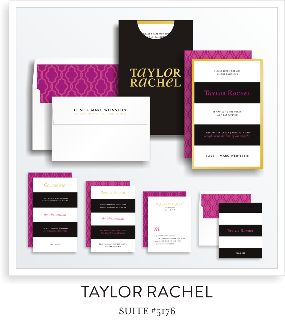 Copy of Bat Mitzvah Invitaiton Suite 5176 - Taylor Rachel