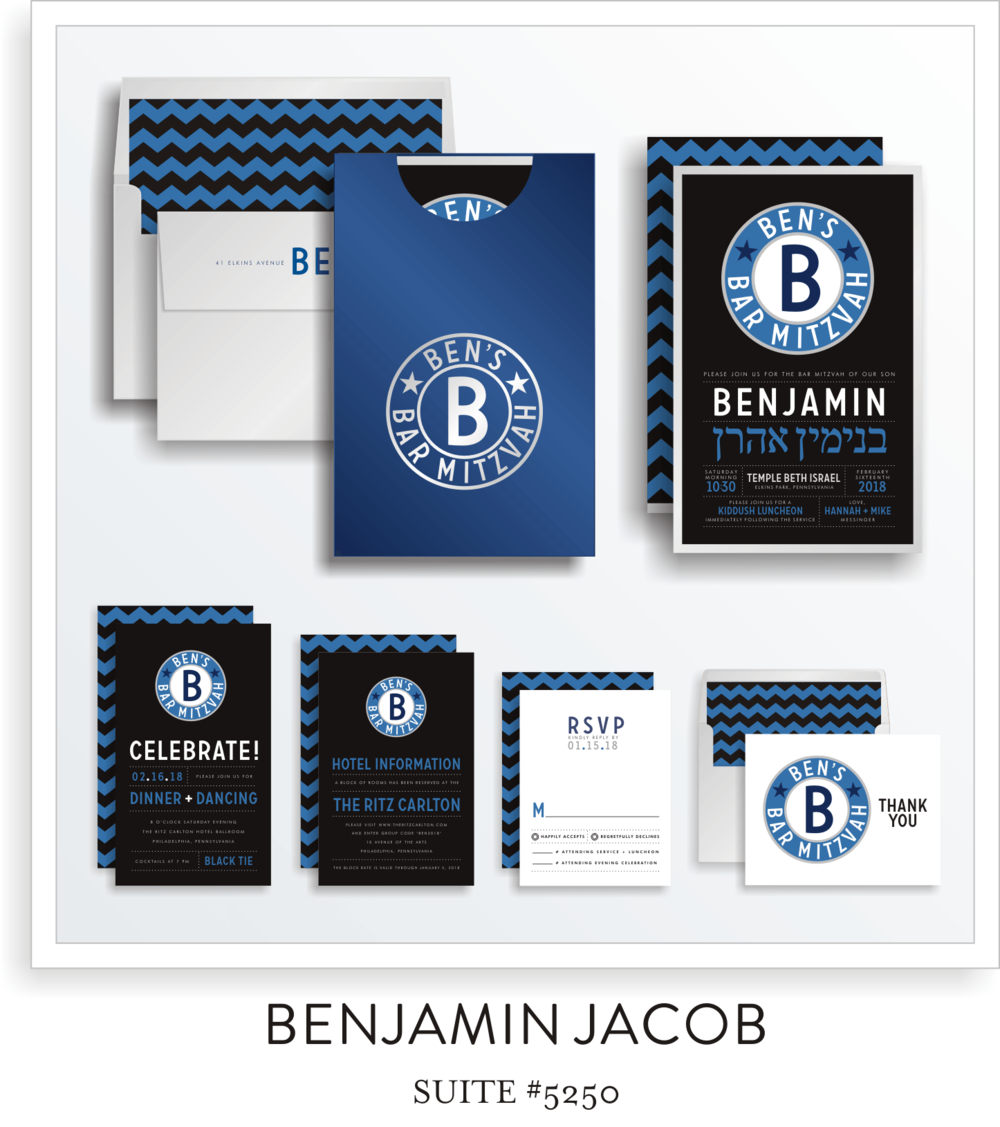 Copy of <a href=/bar-mitzvah-invitations-5250>Suite Details→</a><strong><a href=/jacob-adam-in-colors>see more colors→</a></strong>