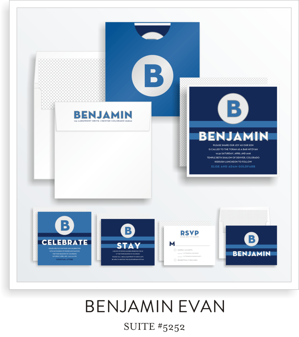 Bar Mitzvah Invitation Suite 5252 - Benjamin Evan