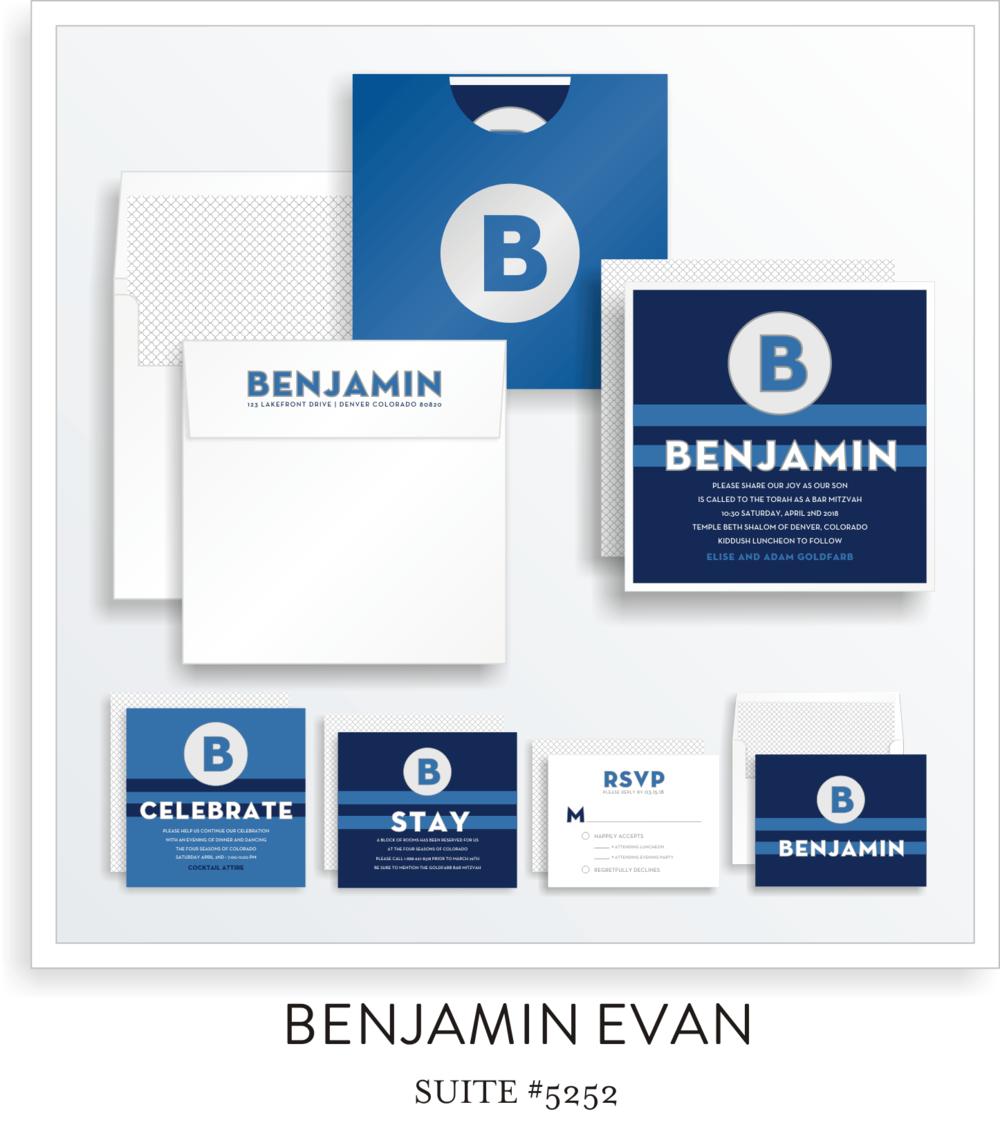 Bar Mitzvah Invitation Suite 5252 - Benjamin Evan