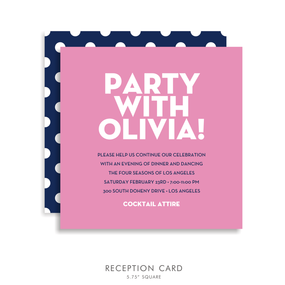 Olivia Anne Suite 5178 Pink and Blue Bat Mitzvah Invitations – Bat Mitzvah Party Invitation Wording