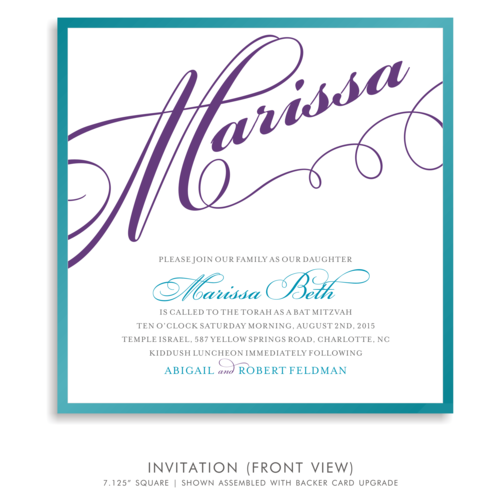 Marissa beth suite 5179 blue and purple bat mitzvah invitations 5179 01g solutioingenieria Gallery