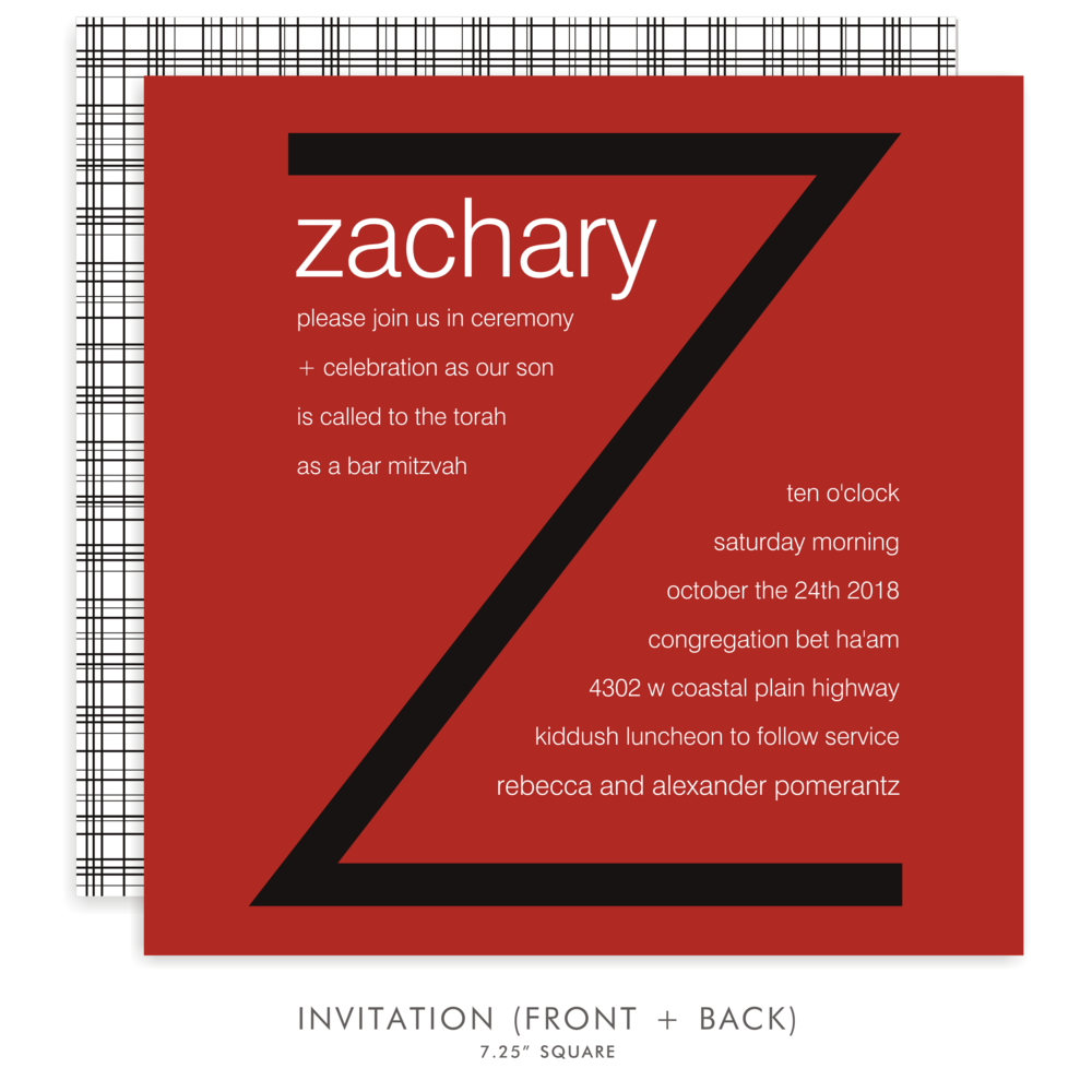 zachary andrew  suite 5255  red and black bar mitzvah invitations  u2014 bar mitzvah invitations