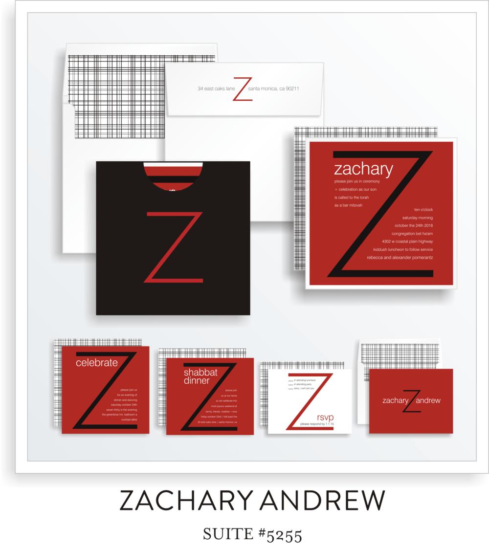 Bar Mitzvah Invitation Suite 5255 - Zachary Andrew