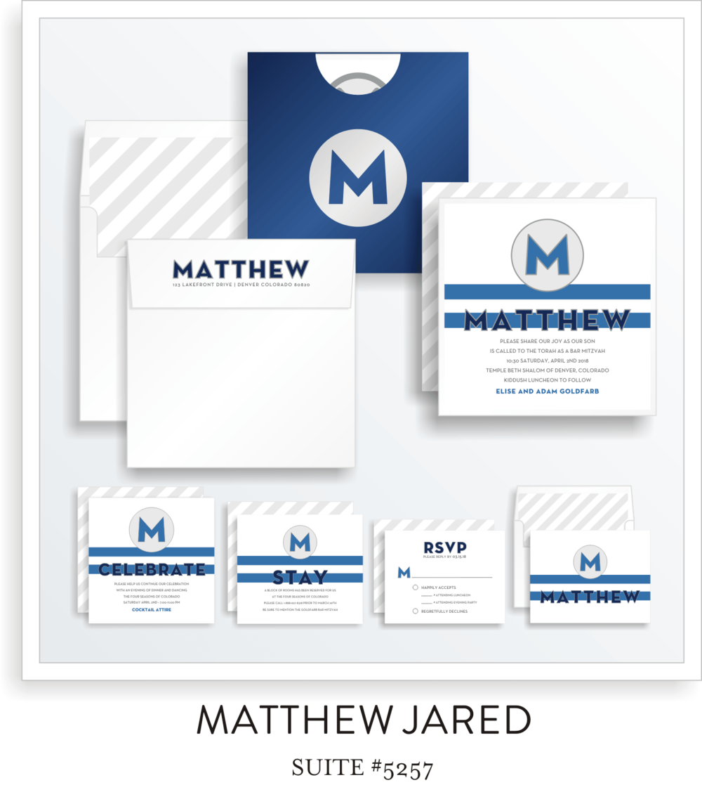 Copy of Bar Mitzvah Invitation Suite 5257 - Matthew Jared
