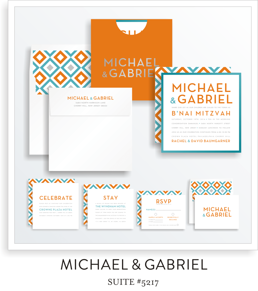 Bar Mitzvah Invitation Suite 5217 - Michael & Gabriel