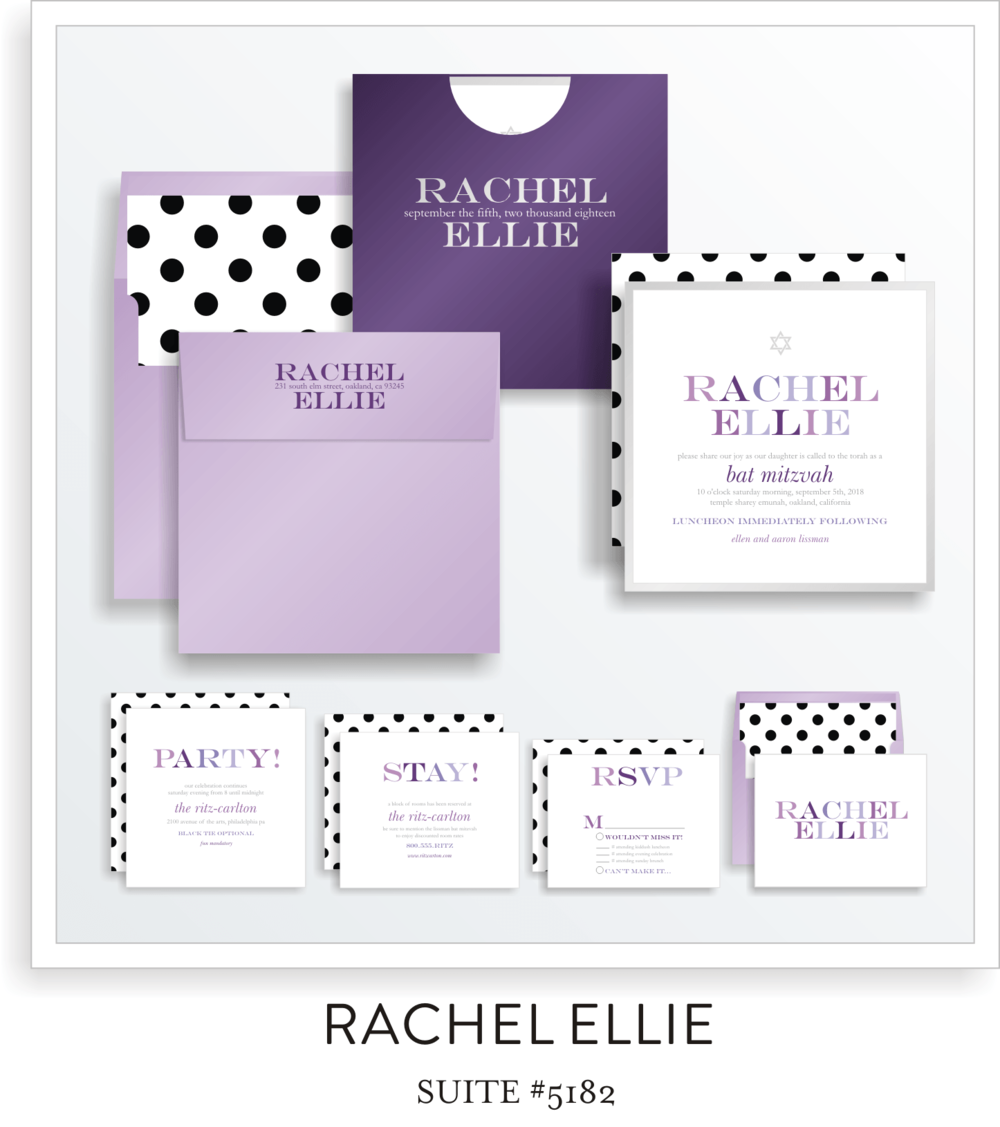 Bat Mitzvah Invitation Suite 5182 - Rachel Ellie