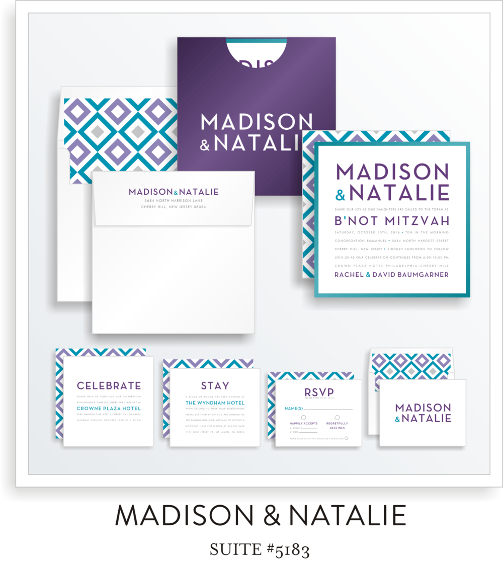 Copy of Copy of B'not Mitzvah Invitation Suite 5183 - Madison & Natalie
