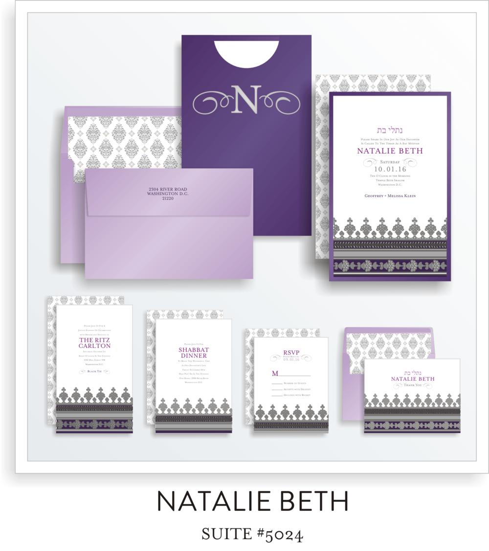 Copy of Copy of Bat Mitzvah Invitation Suite 5024 - Natalie Beth