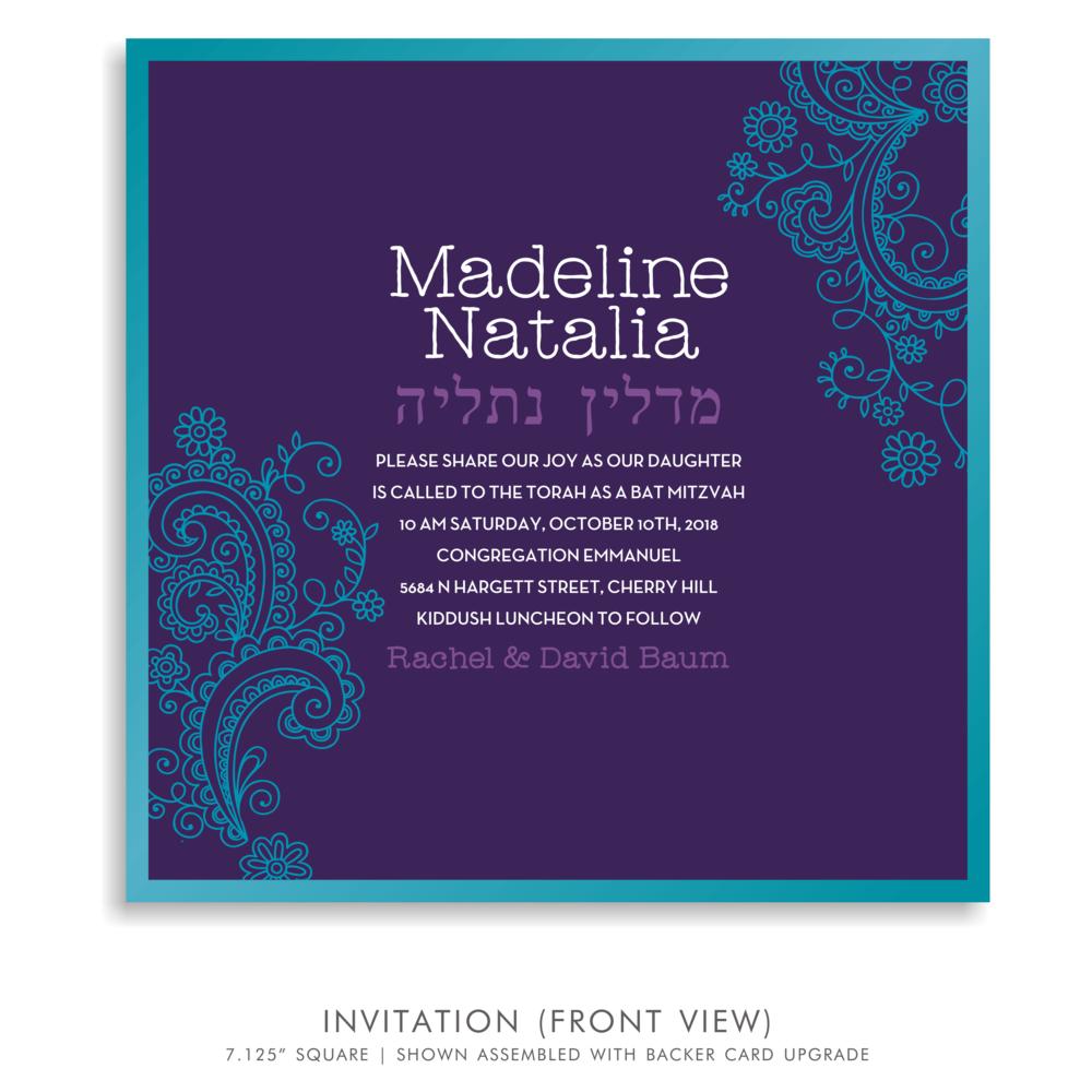 Bat Mitzvah Invitation 5186 - Madeline Natalia