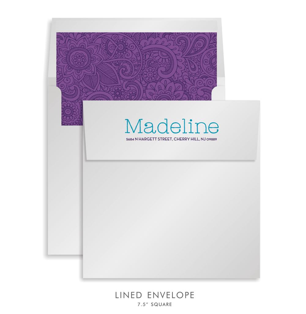 Bat Mitzvah Custom Envelope 5186 - Madeline Natalia