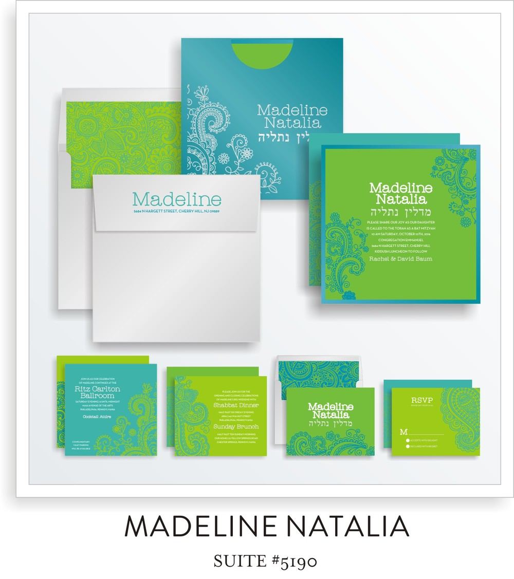 Bat Mitzvah Invitation Suite 5190 - Madeline Natalia