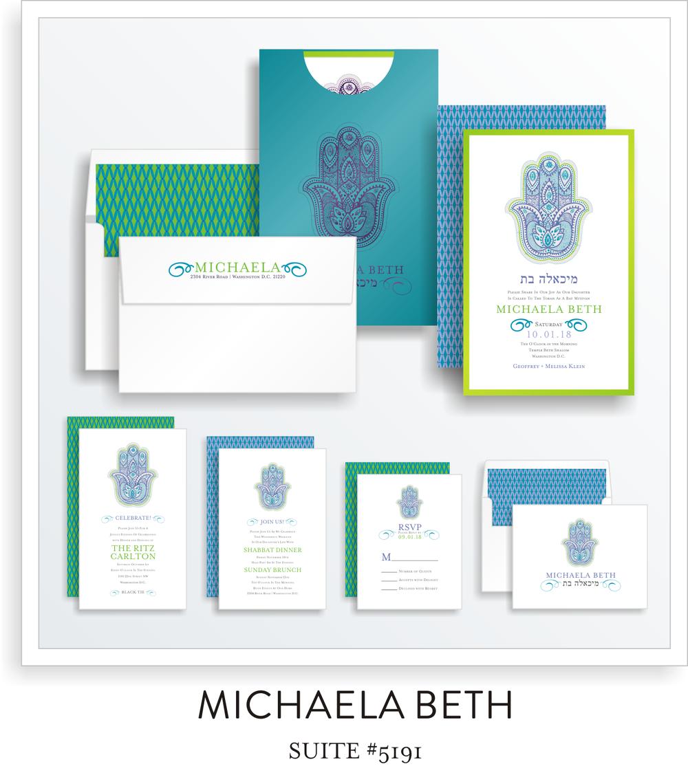 Copy of Copy of Bat Mitzvah Invitation Suite 5191 - Michaela Beth