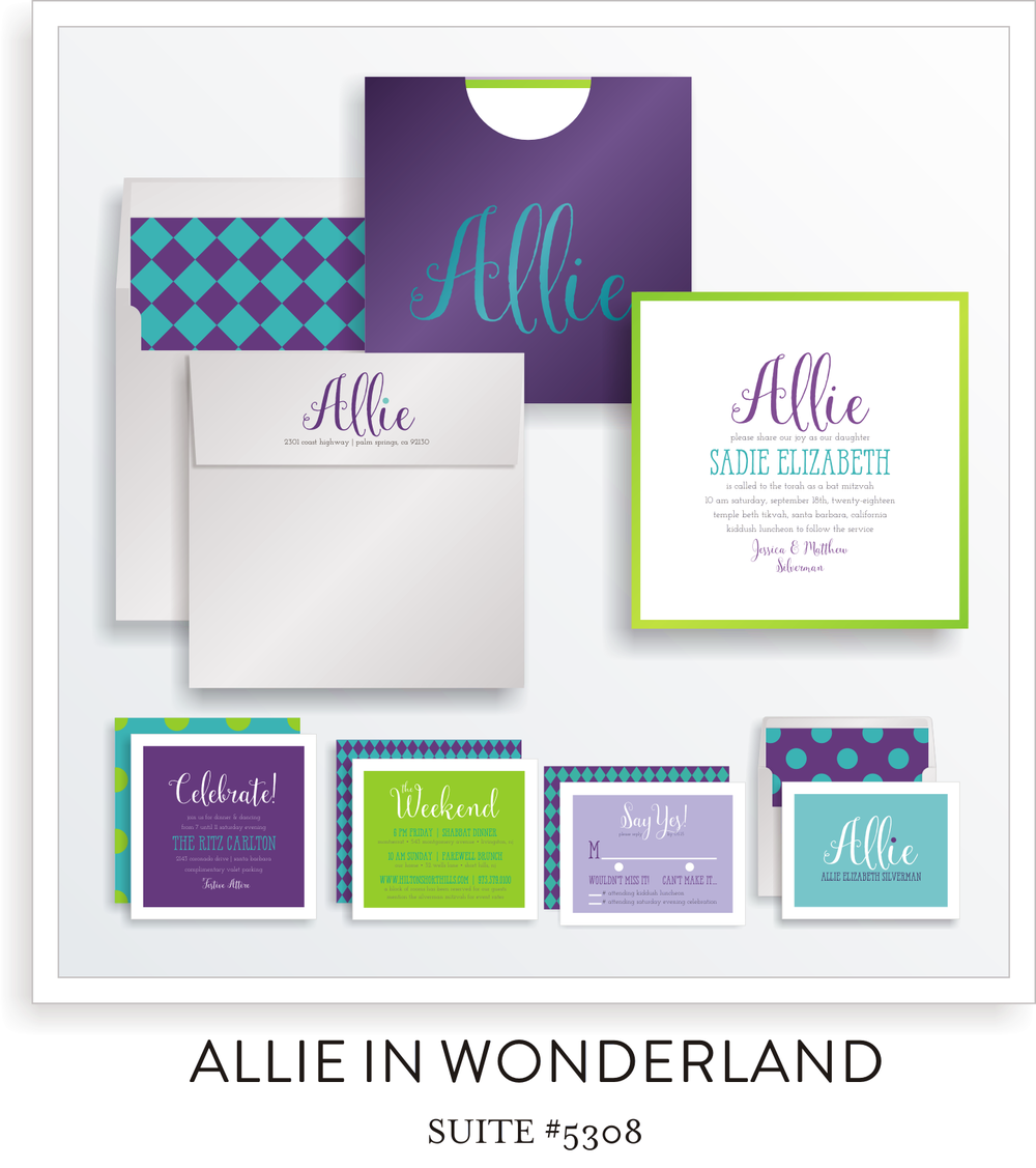 Bat Mitzvah Invitation Suite 5308 - Allie in Wonderland