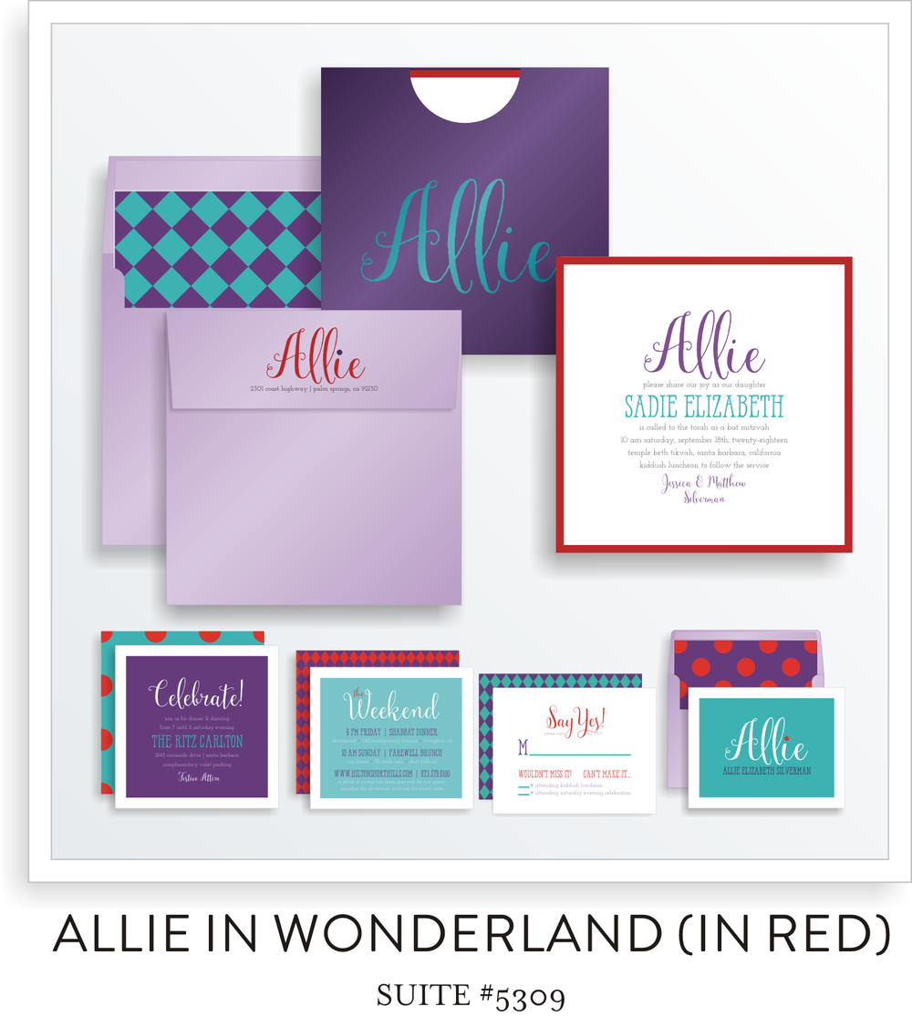 Bat Mitzvah Invitation Suite 5309 - Allie in Wonderland (in red)