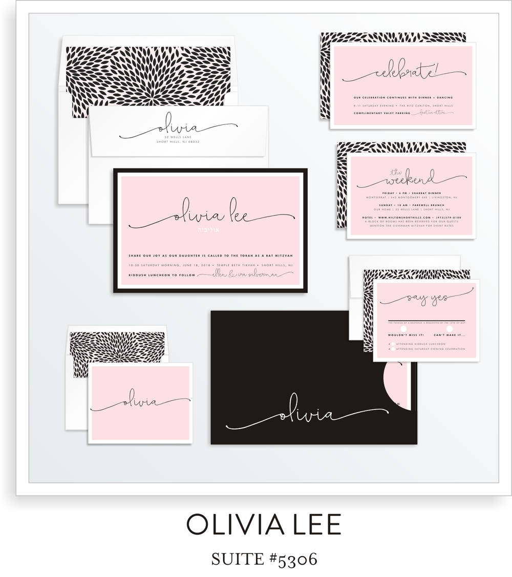 Bat Mitzvah Invitation Suite 5306 - Olivia Lee
