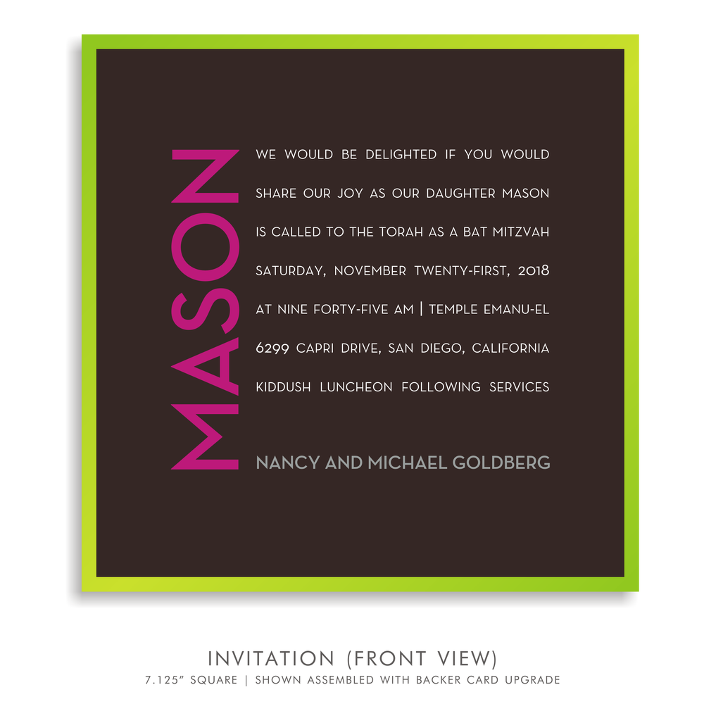 BAT MITZVAH INVITATION 5319=CAMP M