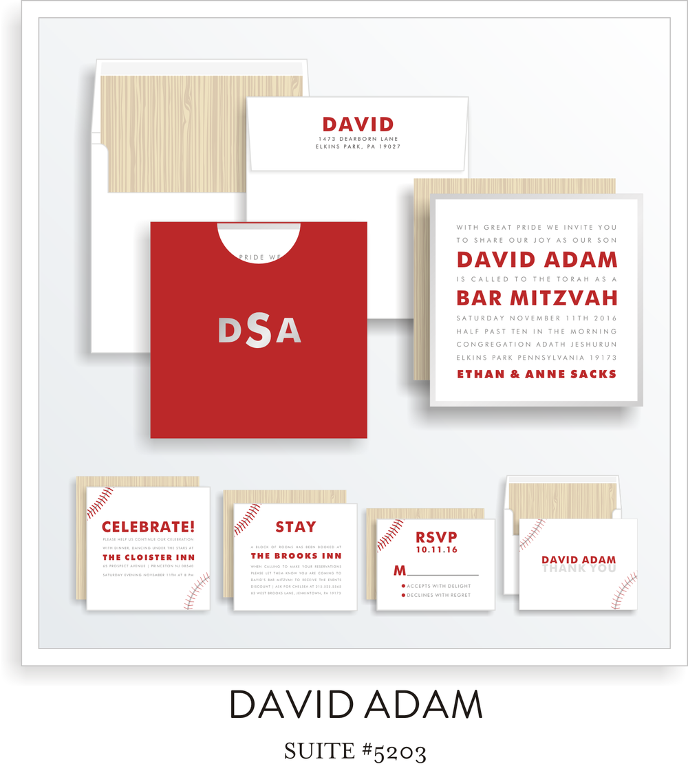SUITE DETAILS<a href=/bar-mitzvah-invitations-5201>→</a>See More Colors<a href=/david-adam-in-colors>→</a><strong>Personalize It!</strong>