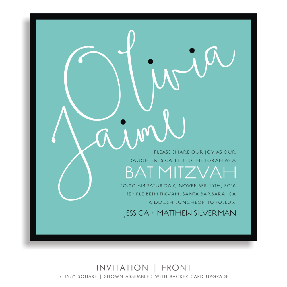 BAT MITZVAH INVITATION 5322-OLIVIA J. IN AQUA
