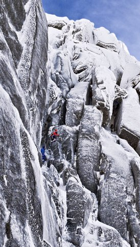 Photo caption: Unamed climbers on a hard-glazed Rulten. Lofoten, Norway. MARKO PREZELJ