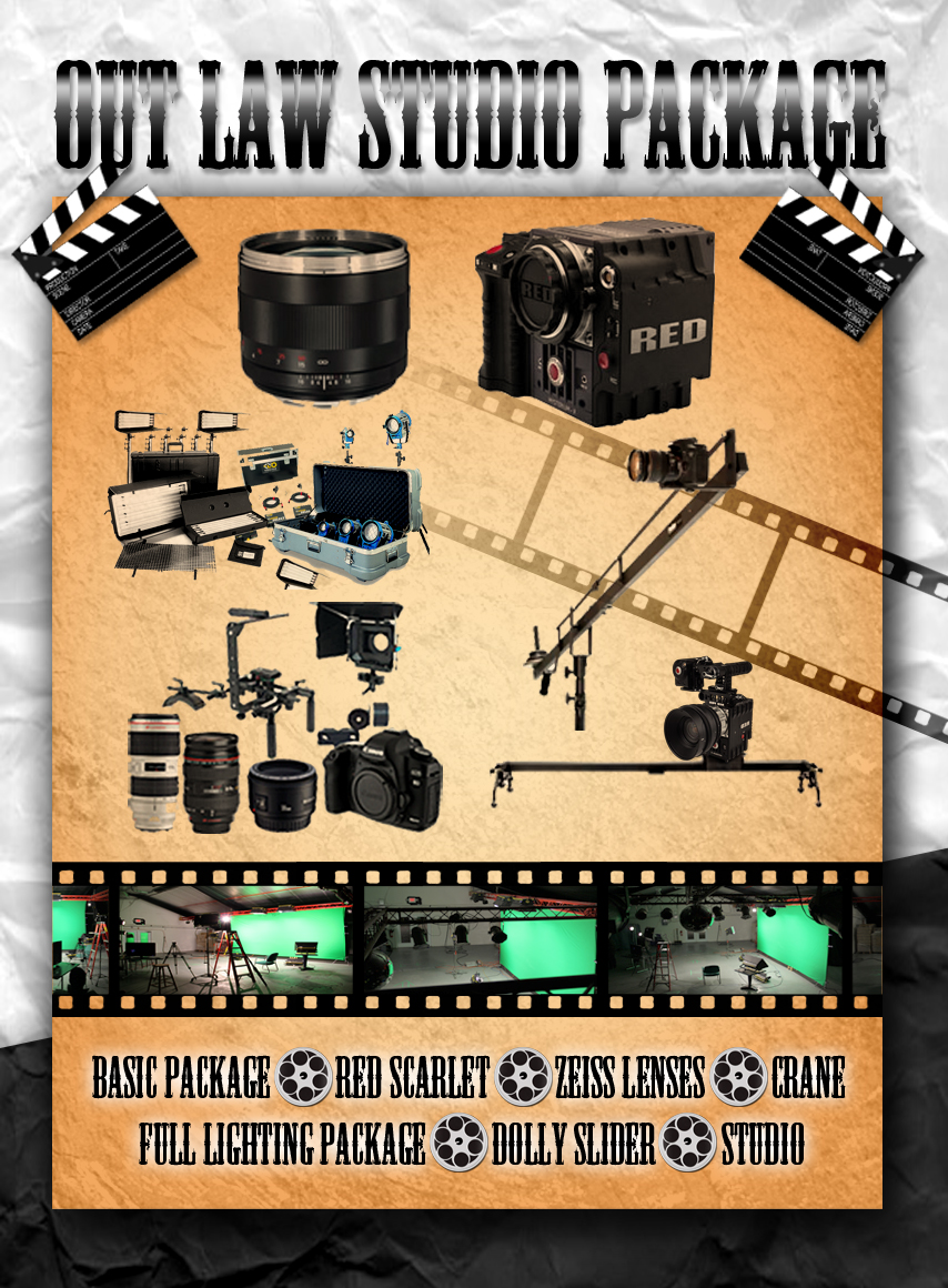 OUT LAW STUDIO PACKAGE - Basic package - RED Scarlet - Zeiss Lenses - Crane - Slider - Dolly - Full lighting package - Studio  Normal Price Day: $1,610.00 Package Price Day: $1,350.00 Savings: $260.00  Normal Price Week: $5,110.00 Package Price Week: $4,530.00 Savings: $580.00  Normal Price Month:$16,240.00 Package Price Month:$13,120.00 Savings:$3,120.00  Enquire about audio, and behind the scenes camera discounts!