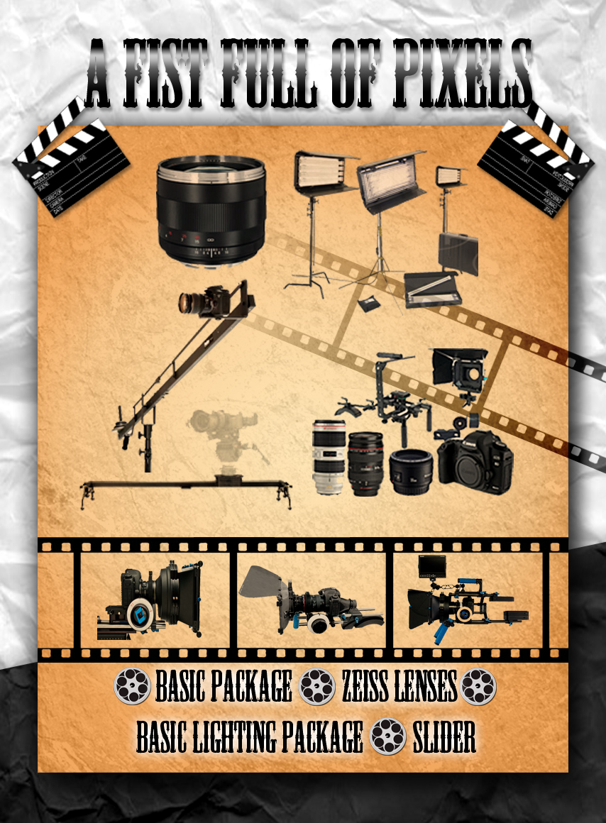 FIST FULL OF PIXELS     - Basic package   - Zeiss Lenses  - Crane   - Slider   - Basic lighting package      Normal Price Day: $860   Package Price Day: $700     Savings: $160             Normal Price Week: $2,580.00  Package Price Week: $2,310.00  Savings: $270.00    Normal Price Month:$9,290.00  Package Price Month:$8,140.00  Savings:$1,150.00     Enquire about audio, and behind the scenes camera discounts!