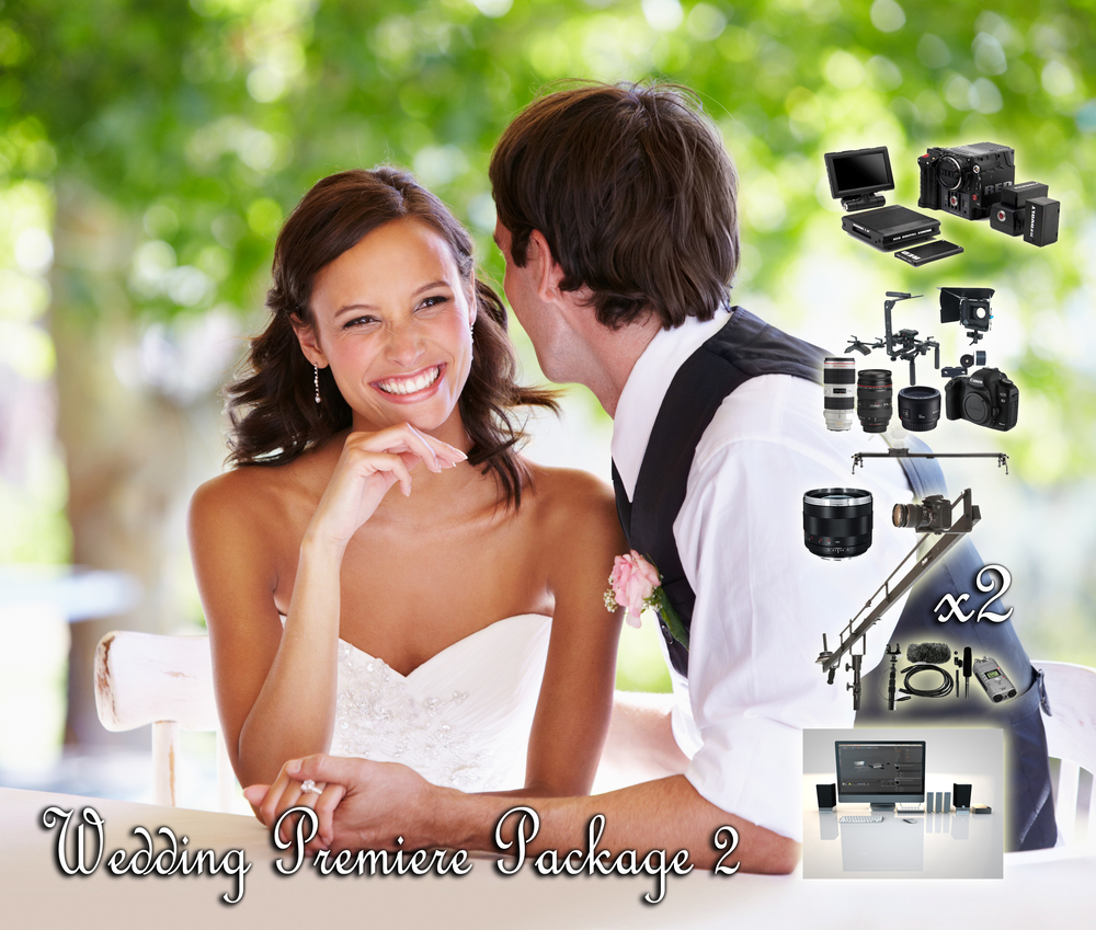 PREMIERE WEDDING PACK 2  Scarlet + Operator Basic Package x2.  (with free Canon 60D Camera) Audio Package and Operator Assistant Zeiss Lens Package Slider Crane Lighting FREE Hard Drive Misc Editing Price: $10,090.00 Discount Price: $8,960.00! Savings: $1,130.00!