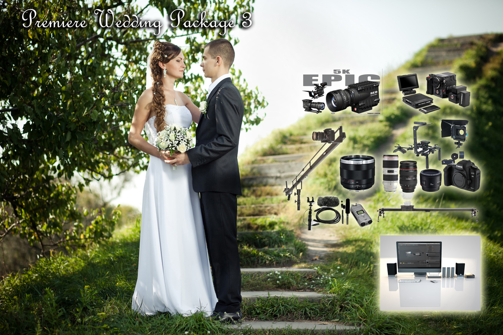 PREMIERE WEDDING PACK 3  EPIC CAMERA + OPERATOR:  SCARLET  + OPERATOR    BASIC PACKAGE x1:  (With free Canon 60D Camera) Audio Package and Operator Assistant Zeiss Lens Package Slider Crane Lighting FREE Editing Price: $11,460.00 Discount Package Price: $10,110.00 Savings: $1,350.00