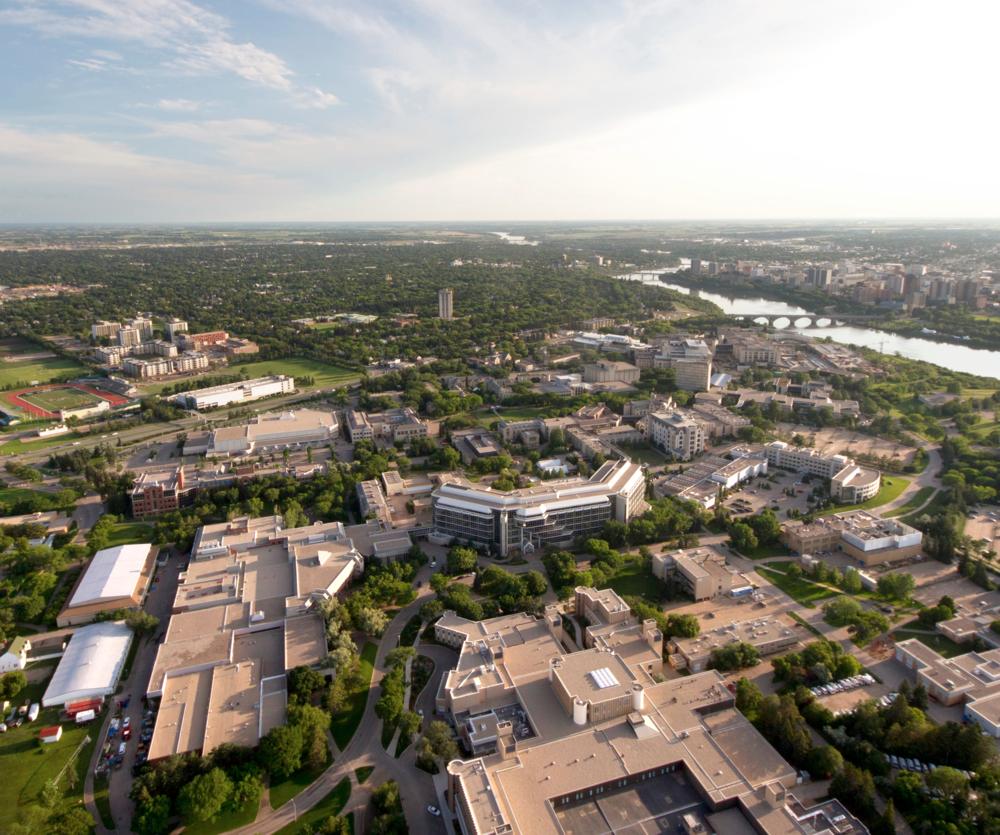 Aerial view of University of Saskatchewan and downtown Saskatoon