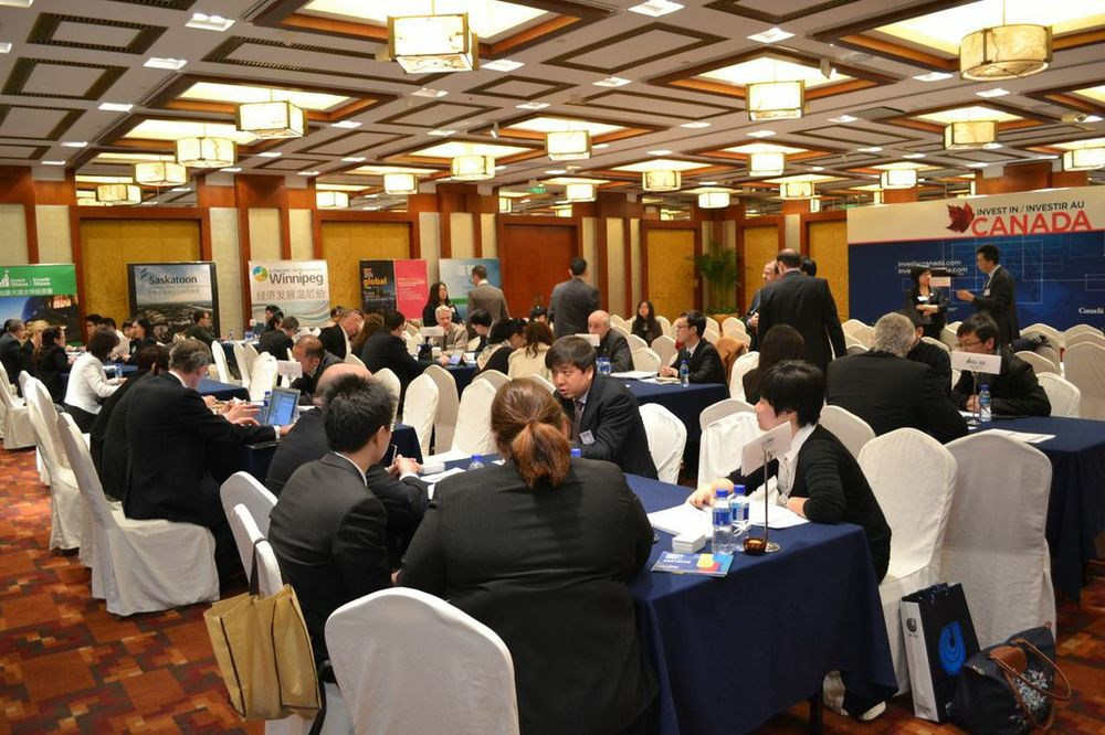 Members in one-on-one meetings with Chinese companies in Beijing.