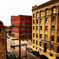 Southern vantage of Innovation Alley in Winnipeg's Exchange District, where historic buildings house cutting-edge entrepreneurship and innovation