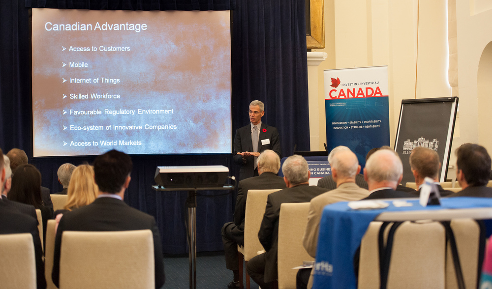 Brian O'Higgins, Executive Fellow, Mistral Venture Partners and Co-Founder and Former CTO, Entrust and Third Brigade, discusses Canada's competitive advantages in cybersecurity in Oxford on November 4, 2014 (Photo Credit: Invest in Canada).