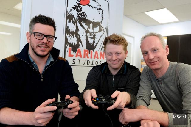 Joachim Vleminckx, Art Director, Edgard De Smet, Studio Director and Senior Programmer, et Swen Vincke, CEO of Larian Studios. Photo credit: LE SOLEIL, ERICK LABBÉ