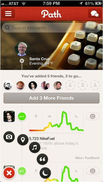 The Path App (as seen on the iPhone 5) is highly regarded in the mobile app design community for it's cutting edge user interface.