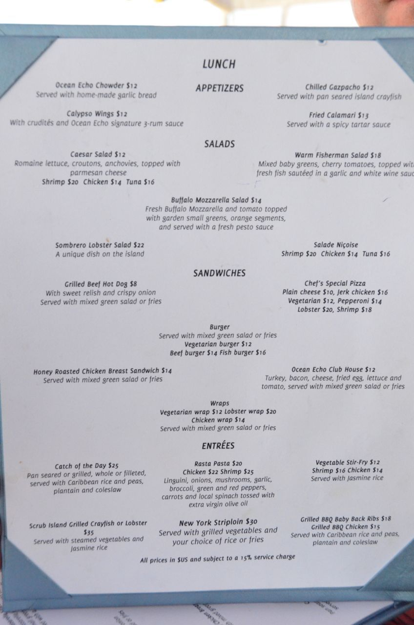 Ocean Echo Lunch Menu