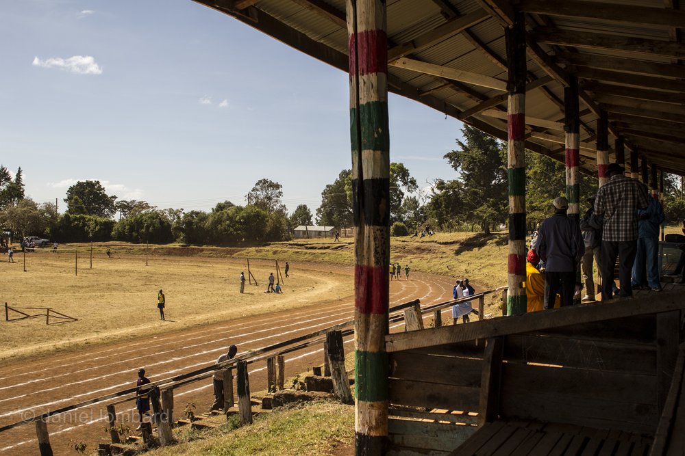 The track at Kamariny Stadium has a small set of bleachers for spectators to shade themselves but the facility is in a state of disrepair.