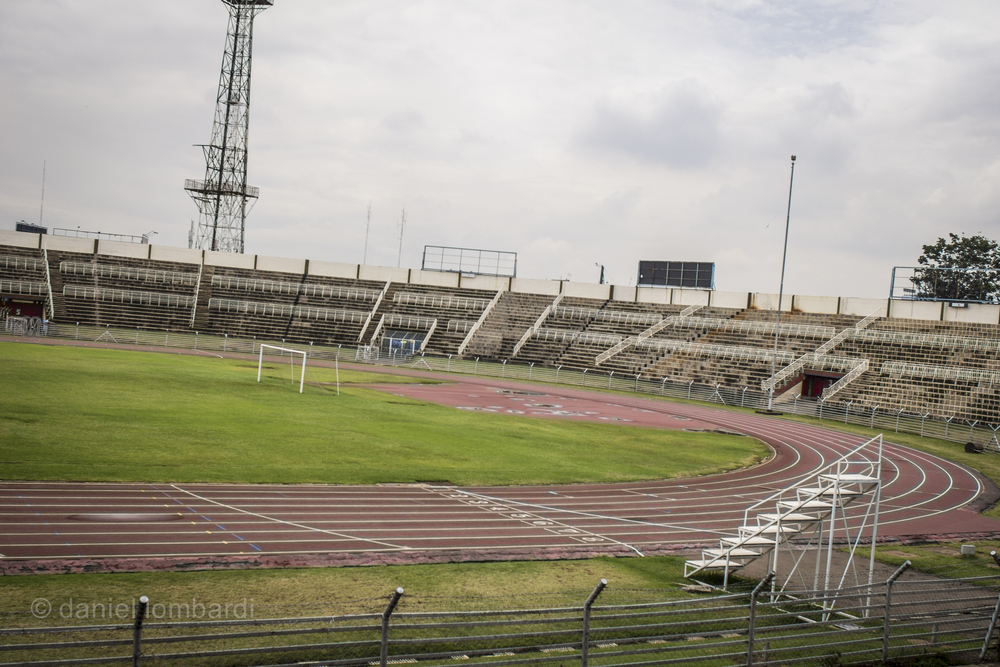 Here's a track you probably won't see when you're in Kenya but could be a lot of fun if you do. The national stadium in Nairobi isn't used a lot and you'll have to be a lot craftier than me to be allowed to train on it. It was a struggle for me to be allowed to photograph it for the magazine without paying any bribes.   But with a little research before hand you might be able to schedule your visit around a track meet.