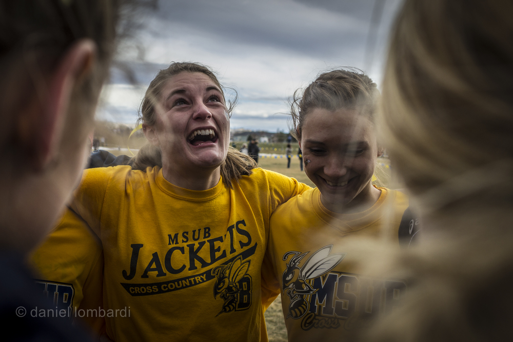 Renae Hepfner  laughs and cries at the same time as she prepares to run her last college cross country race.