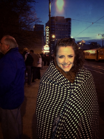 Cold,nervous, and excited waiting in line outside the Orpheum Theater in Memphis, TN.