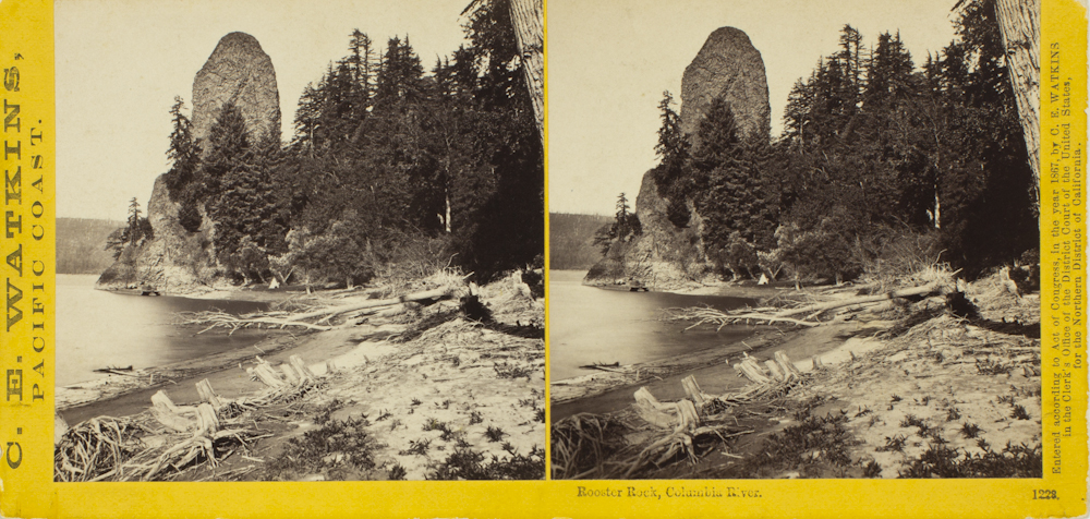 "centuriespast :      Carleton Emmons Watkins (  American, 1829-1916  ),    Untitled (Rooster Rock, Columbia River)   , 1867, albumen silver prints; stereograph     Portland Art Museum       Carleton E. Watkins (1829 – 1916) was a noted 19th-century California photographer. He series of conservation photographs of the Yosemite Valley in the 1860's, significantly influenced the United States Congress' decision to establish the valley as a National Park in 1864. Carleton Eugene Watkins was born in Oneonta, upstate New York. He went to San Francisco during the gold rush, arriving in 1851.   His interest in photography started as an aide in a San Francisco portrait studio in 1861. He soon started making photographs of California mining scenes and of Yosemite Valley. He experimented with several new photographic techniques, and eventually favored his ""Mammoth Camera,"" which used large glass plate negatives, and a stereographic camera. He became famous for his series of photographs and historic stereoviews of Yosemite Valley.    However Watkins was not a good businessman. He spent lavishly on his San Francisco studio and went deeply into debt. His photographs were auctioned, following a business setback, resulting in his photographs being published without credit by I. W. Taber, the new owner. Watkins also had problems of his photographs being reprinted without permission by Eastern companies and with other photographers rephotographing the exact scenes Watkins photographed.    In 1879, Watkins married his 22-year-old assistant, Frances Sneade, with whom he had two children. Watkins began anew with his ""New Series,"" which included a variety of subjects and formats, mostly related to California. However, he remained poor and his family lived for a time in an abandoned railroad boxcar. The 1906 San Francisco earthquake and fire destroyed Watkins's studio and negatives. In 1910 Watkins was committed to the Napa State Hospital for the Insane, where he died six years later."