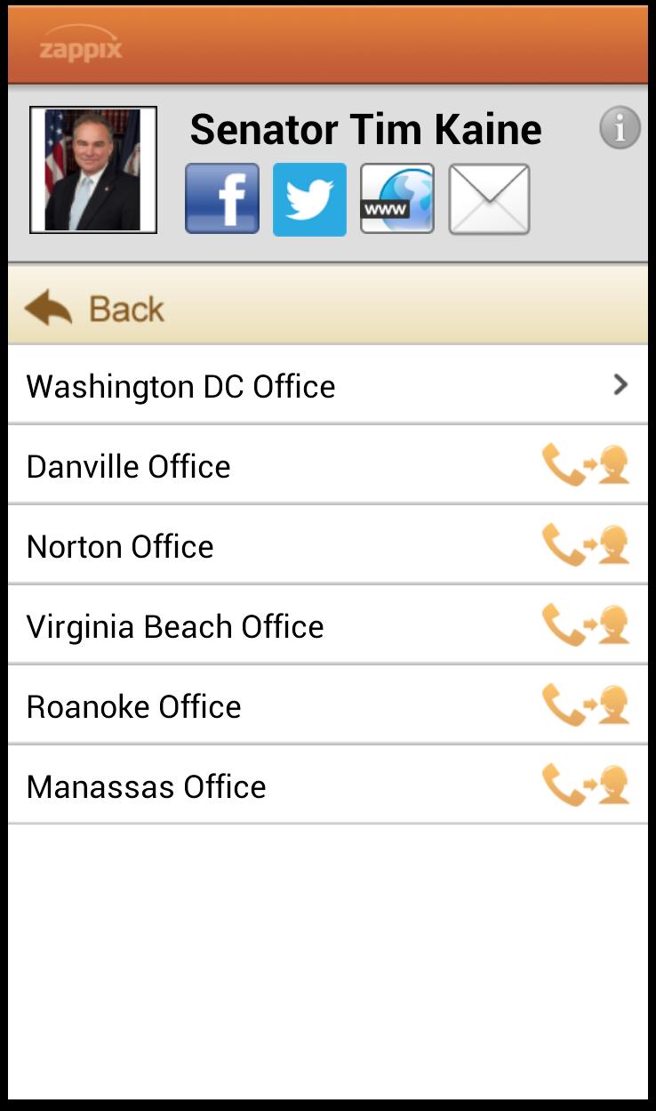 Contact US Senator using the Zappix Smartphone app