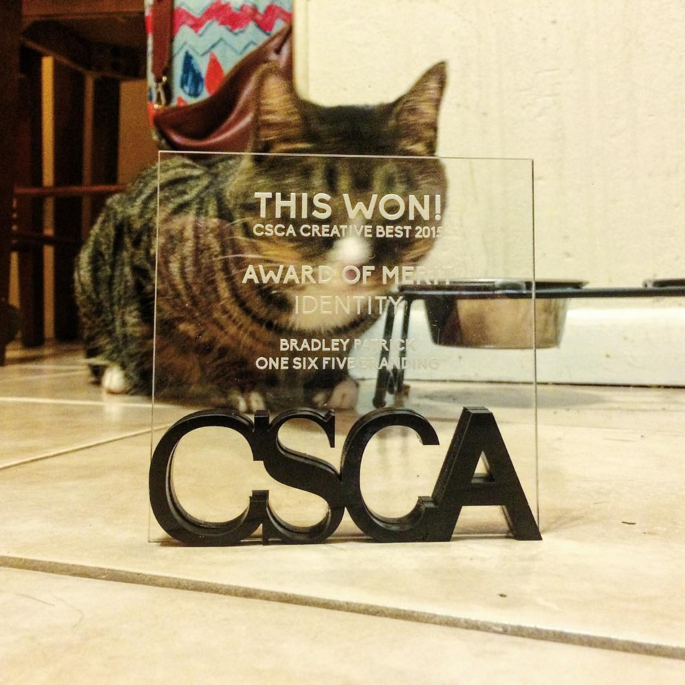 Here's a bad photo of my cat Louie with the award.
